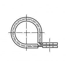 DIN 3016 сталь (W1) форма D 1 цинкове покриття хомут суцільнометалевий форма D 1, з гумовим профилем розмір: 25 x 20 - W1 (50 штук)