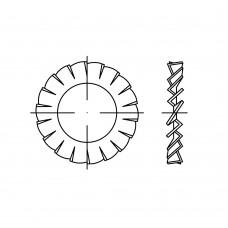 DIN 6798 1.4310 форма A вентиляторні шайби, зовнішні зубци розмір: A 4,3 (1000 штук)